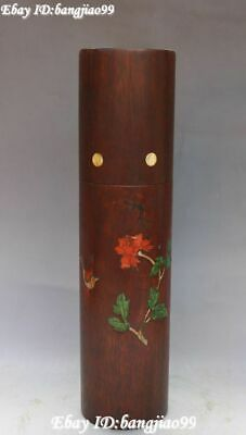 Unique Huanghuali Wood inlay Shell Magpie Birds Flower Incense Holder Joss Box