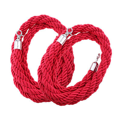 2x 2m Twisted Rope Crowd VIP Stanchion Post Divider Queue Line Barrier Red