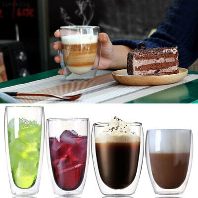 2E69 80-600ml Double Wall Glass Cups Coffee Heat Resistant Beer Milk Tea Mugs US