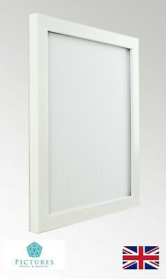 White Photo Picture Frame 19mm A6 A5 A4 A3 With or Without Mount Glass / Perspex