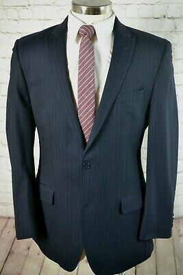 TALLIA Mens Navy Blue Wool Peak Lapel Sport Coat Suit Jacket 42L