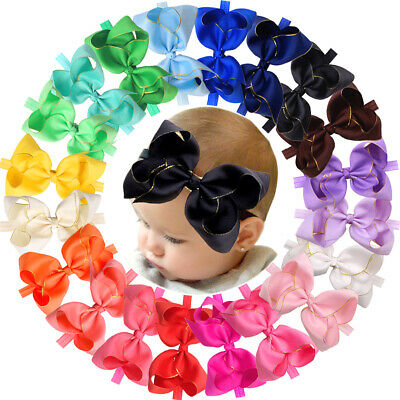 20 Colors 6 inch Hair Bows Baby Girls Headbands Grosgrain Ribbon Soft Headbands