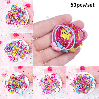 Cute Elastic Hair Bands Kids Baby Girl 50 Pcs Ponytail Holder Head Rope Ties