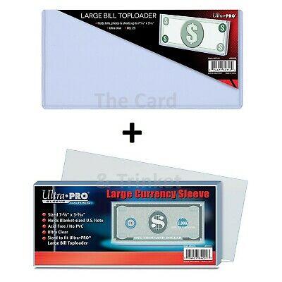 Ultra PRO Large Currency SLEEVES + TOPLOADERS Bundle Money Bill Note Holder Top