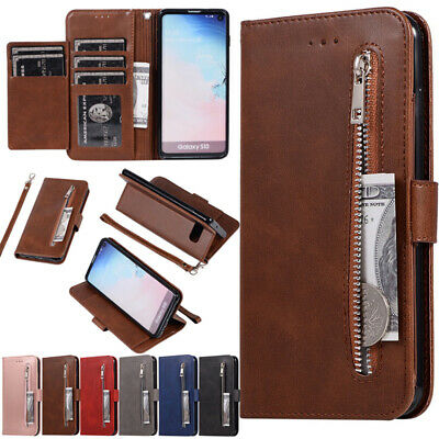 For Samsung Galaxy S10 S8 S9 A50 Flip PU Leather Card Slot Zip Wallet Case Cover