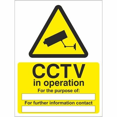 CCTV In Operation For The Purpose Of Sign 150mm x 200mm