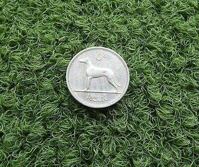 1963 EIRE: IRISH SIX PENCE (6d) COIN - COPPER-NICKEL FEATURES A GREYHOUND