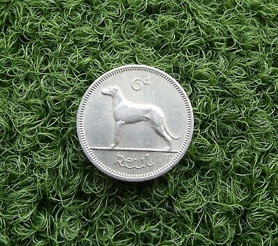 1967 EIRE: IRISH SIX PENCE (6d) COIN - COPPER-NICKEL FEATURES A GREYHOUND