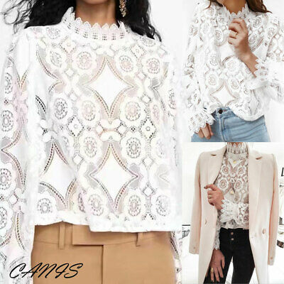 UK Tengdy Women Lace Tops Long Sleeve Hallow Out Lace Blouse Casual Shirt Spring