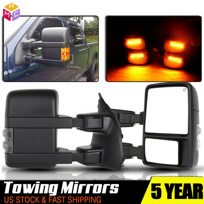 08-15 F250 SuperDuty Power LED Arrow Manual Extendable Amber Towing Mirrors