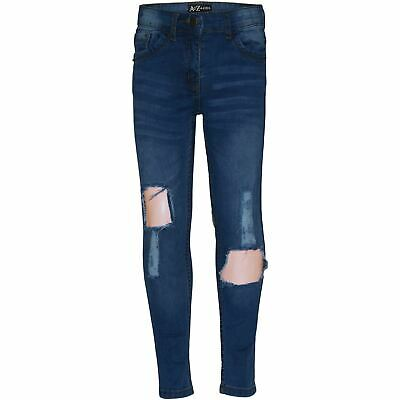 Kids Girls Skinny Ripped Jeans Mid Blue Denim Fashion Stretchy Jeggings Pants
