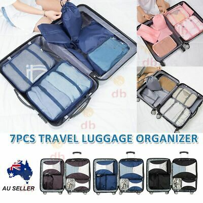 7PCS Packing Cubes Pouches Luggage Storage Bag Travel Suitcase Clothes Organiser