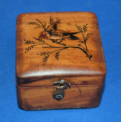 An antique Sorrento ware desktop stamp box, handpainted bird, 1912, single size