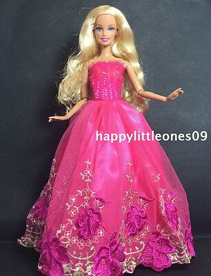 Hot Pink Embroidered Barbie Doll Wedding Party Evening Dress/Clothes/Outfit New
