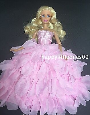 New Flower Petal Wedding Party Evening Dress/Clothes/Outfit for Barbie Doll Pink