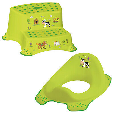 Keeeper 2-teiliges Set FUNNY FARM Schemel zweistufig & Toilettensitz grün TOP