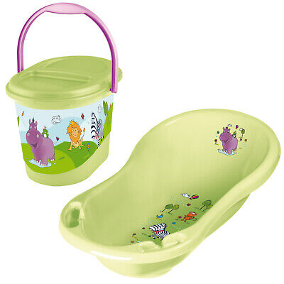 Keeeper 2-teiliges Badeset HIPPO Badewanne mit Windeleimer lime green TOP