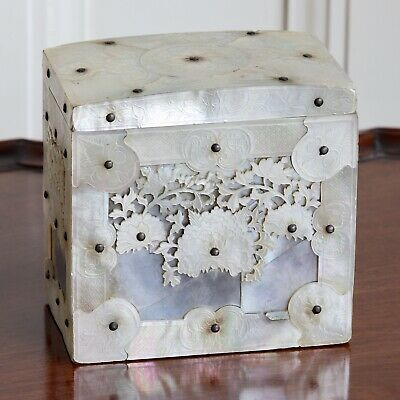 A Fine Quality 19th Century Chinese Carved Mother Of Pearl Tea Canister, c.1860.