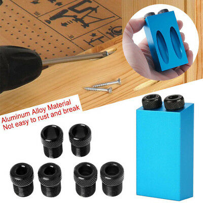 Pocket Hole Jig Kit 15° Angle 6/8/10mm Adapter Drill Guide Woodworking Adapter