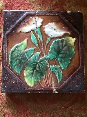 Original Victorian Poppy Flower Art Nouvelle  Tile