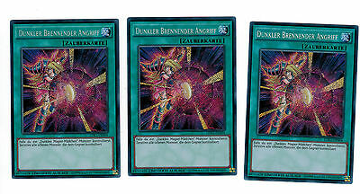 3 x Dark Burning Attack LDK2-DES04,Limited Edition,Secret Rare, Mint