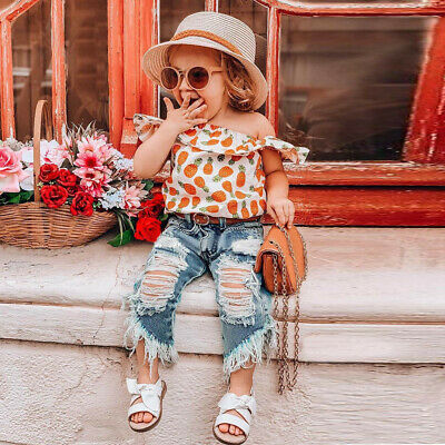 Toddler Kids Baby Girls Pineapple Print Shirt Tops Hole Jeans Pants Outfits Sets