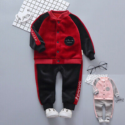 Baby Kids Winter Girls Boys Letter Long Sleeve Tracksuit Tops Pants Outfits Sets