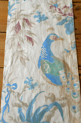 Antique  Early French Block Printed Peacock Cotton Fabric ~  Aqua Blue Green