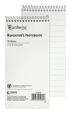 Ampad EarthWise Reporter's Notebook, 4 x 8 Inches, Pitman Ruled, 70 Sheets, Pack