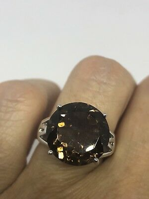 Vintage Genuine Brown Smoky Topaz 925 Sterling Silver Deco Cocktail Size 7 Ring
