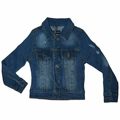 Kids Girls Denim Jacket Light Blue Ripped Jeans Jackets Fashion Coat 3-13 Years