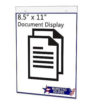 "Sign Holder Ad Frame 8.5""W x 11""H Horizontal Wall Mount with Mounting Holes"