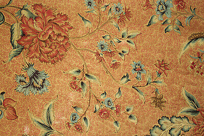 Antique Fabric French Early 1800s Floral hand block printed arborescent Indienne