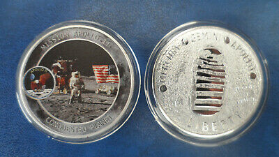 NASA  -  Apollo 11 moon landing silver plated/coloured coin - Conquested plan