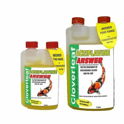 Cloverleaf Acriflavine Answer Pond Water Treatment Ulcer Wound Fin Rot Koi Fish