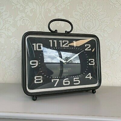Square Black Grand Mantle Clock Industrial Vintage Retro Style Home