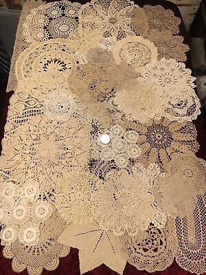 Bulk Lot Of 36 Lovely Vintage Doilies Round Crochet Lace White Cream Beige