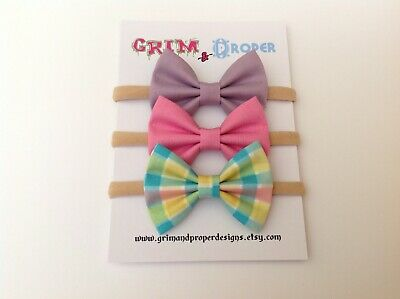 Nylon bow headband set newborn baby girls stretchy soft pastel plaid pink lilac
