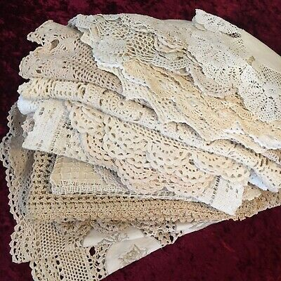 Bulk Lot Of 27 Lovely Large Vintage Doilies Crochet Lace Place Mats Runners