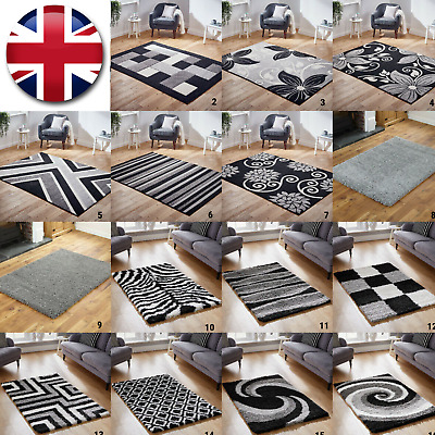 New Modern Silver Grey Black Cream Small Large High Quality Thick Pile Rug Sale