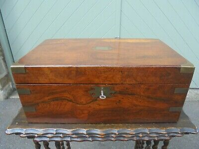 Antique Brass Bound Rosewood Writing Slope Box
