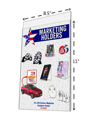 "Wall Mount Ad Frame Sign Holder 8.5""W x 11""H Acrylic with Holes Value Pack of 50"