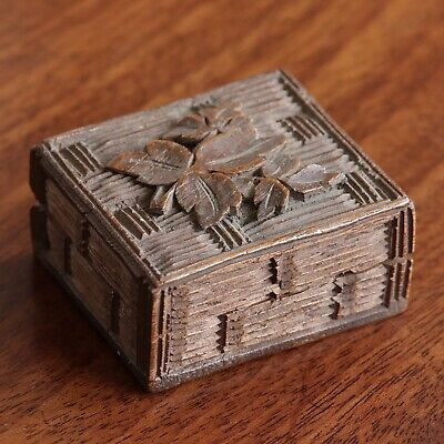 A Small Antique Black Forest Carved Wood Box, Possibly For Stamps, c.1890.