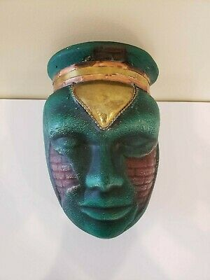 Aztec Mayan Style Head Vase Pottery Ceramic Brass Copper Trim