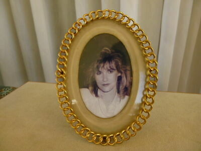 Antique French 19C Victorian Oval Art Nouveau Gilded Bronze Picture Photo Frame