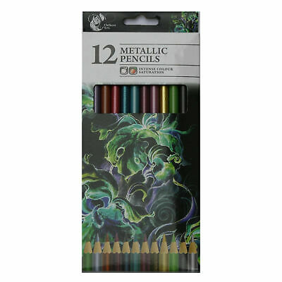24 Pk Intense Colour Metallic Artist Colouring Pencils Assorted Colours Art Draw