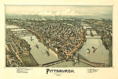PITTSBURGH, PENNSYLVANIA 1902 Vintage Map Giclee CANVAS PRINT 36x24 in