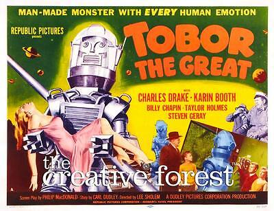 Tobor The Great , Vintage Sci-Fi Filmplakat Leinen Aufdruck 76.2x61cm