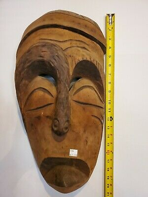 WWll Hand Carved Wood Philippines Tiki Mask Polynesian Native Tribal Ethnic Art
