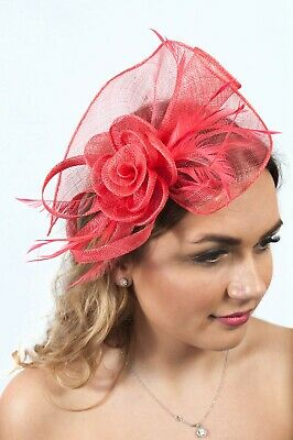 Coral Fascinator Ladies Headpiece Wedding Guest Race Day Ascot Sinamay RRP £65
